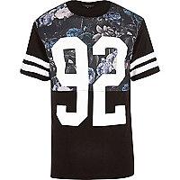 Black floral print varsity t-shirt
