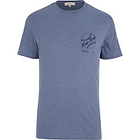 Blue marl New York print t-shirt
