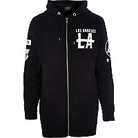 Black longer length LA zip through hoodie