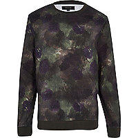 Green floral smudge print sweatshirt