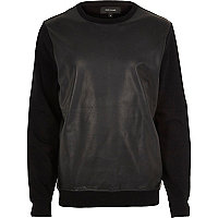 Black leather-look contrast sweatshirt