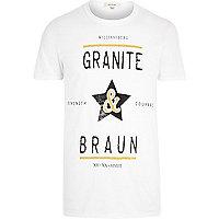 White granite & braun front print t-shirt