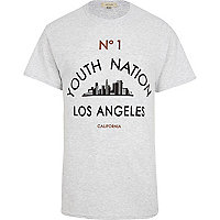 Grey marl youth nation LA print t-shirt