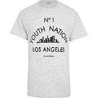Grey marl youth nation LA print t-shirt