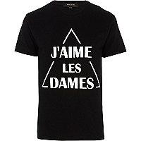Black j'aime les dames print t-shirt