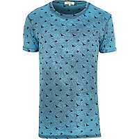 Turquoise bird print t-shirt