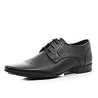 Black textured leather smart lace up shoes
