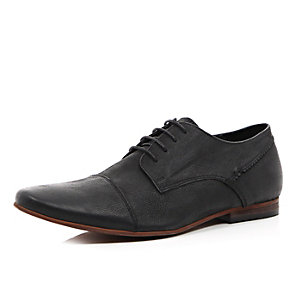 Black leather formal shoes