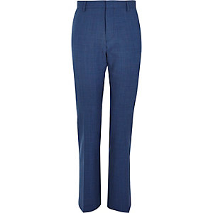 Blue textured slim suit trousers