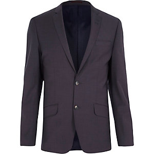 Grey wool-blend slim suit jacket