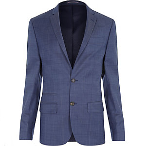 Navy subtle check wool-blend slim suit jacket