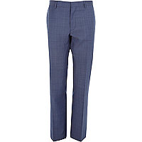 Navy subtle check slim suit trousers