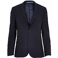 Navy pinstripe slim suit jacket