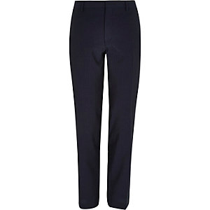Navy pinstripe slim suit trousers