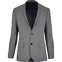 Grey dogtooth slim suit jacket