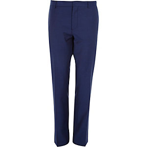 Navy blue wool-blend slim suit trousers
