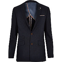 Blue contrast trim skinny suit jacket