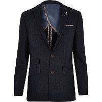 Blue contrast trim skinny suit jacket