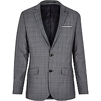 Grey window check slim suit jacket