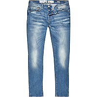 Blue wash distressed Sid skinny stretch jeans