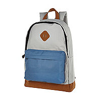 Grey colour block canvas backpack