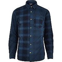 Blue check long sleeve shirt