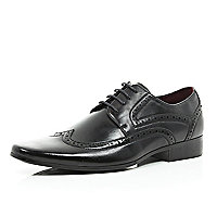 Black brogue formal shoes