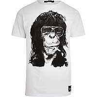 White Friend or Faux monkey print t-shirt
