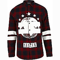 Red Systvm printed check shirt