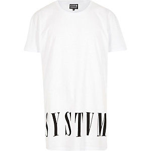White Systvm longer length logo t-shirt