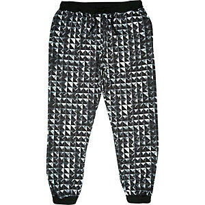 Black Jaded stud printed joggers