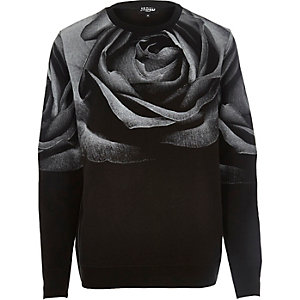 Black Jaded rose print sweatshirt