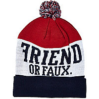 Navy Friend or Faux beanie hat