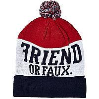 Navy Friend or Faux beanie hat