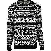 Grey reindeer fair isle Christmas jumper