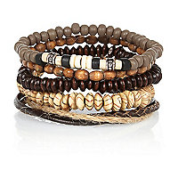 Brown tribal bead bracelet pack
