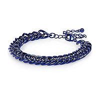 Blue metallic chain bracelet