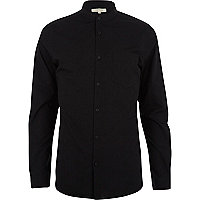 Black grandad collar poplin shirt