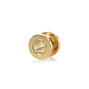 Gold tone tunnel earring