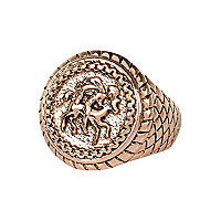 Rose gold tone sovereign ring