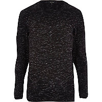 Grey space dye roll neck jumper