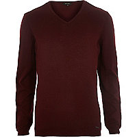 Dark red V neck jumper