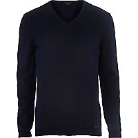 Dark blue V neck jumper
