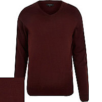 Burgundy red V neck jumper