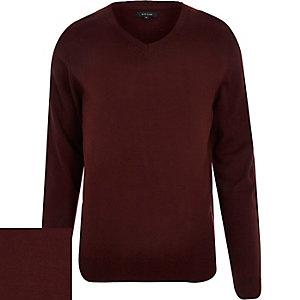 Burgundy red V-neck jumper