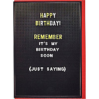 Just saying birthday card