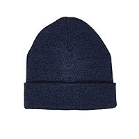 Blue knitted beanie hat