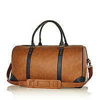 Brown contrast panel holdall