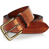 Brown distressed leather belt