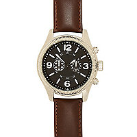 Brown classic etched face watch